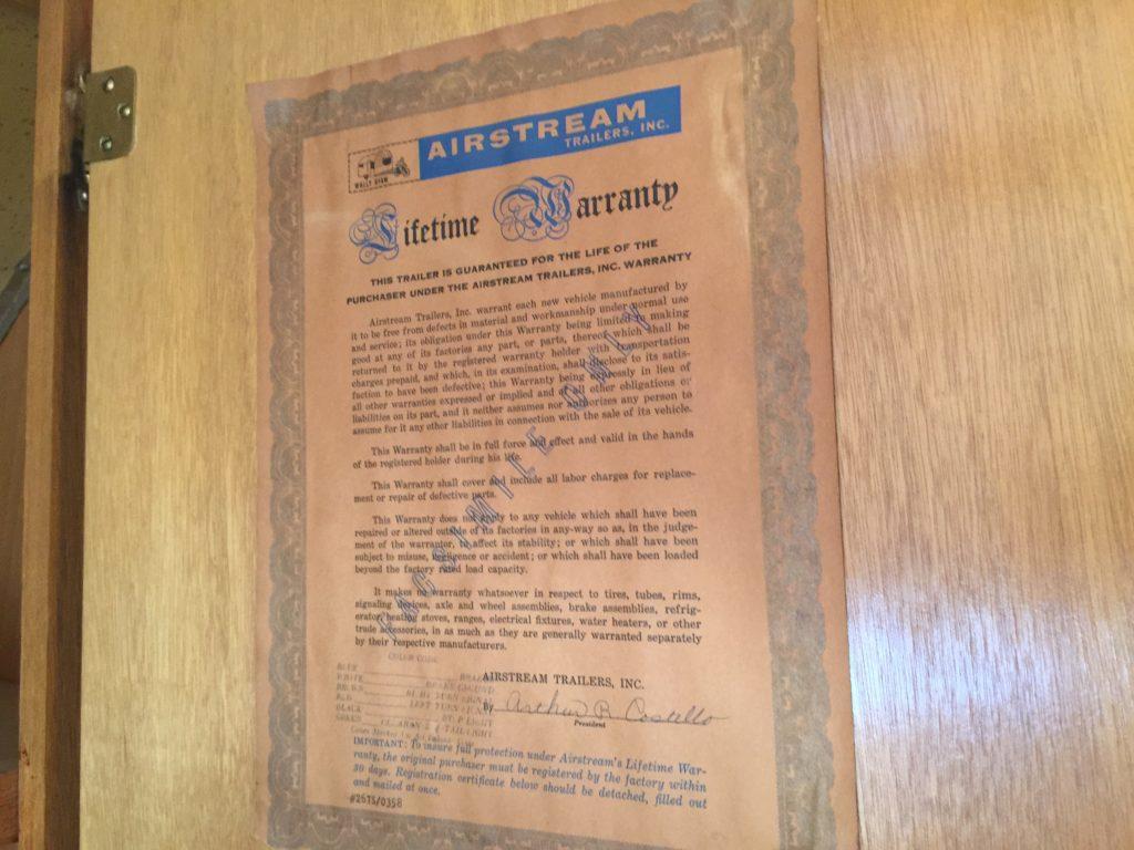 新車時保証書1958年airstreamエアストリーム|ガレージランド